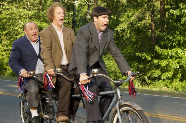 THE THREE STOOGES You know that Curly (Will Sasso, left), Larry (Sean Hayes) and Moe (Chris Diamantopoulos) on the same bike can never end well. TM and © 2012 Twentieth Century Fox Film Corporation.  All rights reserved.  The Three Stooges® name and characters are trademarks and copyrighted works of C3 Entertainment, Inc.  Not for sale or duplication.