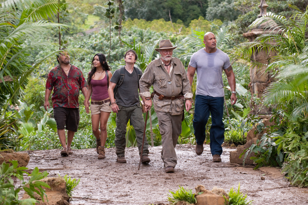 (L-r) LUIS GUZMçN as Gabato, VANESSA HUDGENS as Kailani, JOSH HUTCHERSON as Sean, MICHAEL CAINE as Alexander, and DWAYNE JOHNSON as Hank in New Line CinemaÕs family adventure ÒJOURNEY 2: THE MYSTERIOUS ISLAND,Ó a Warner Bros. Pictures release.