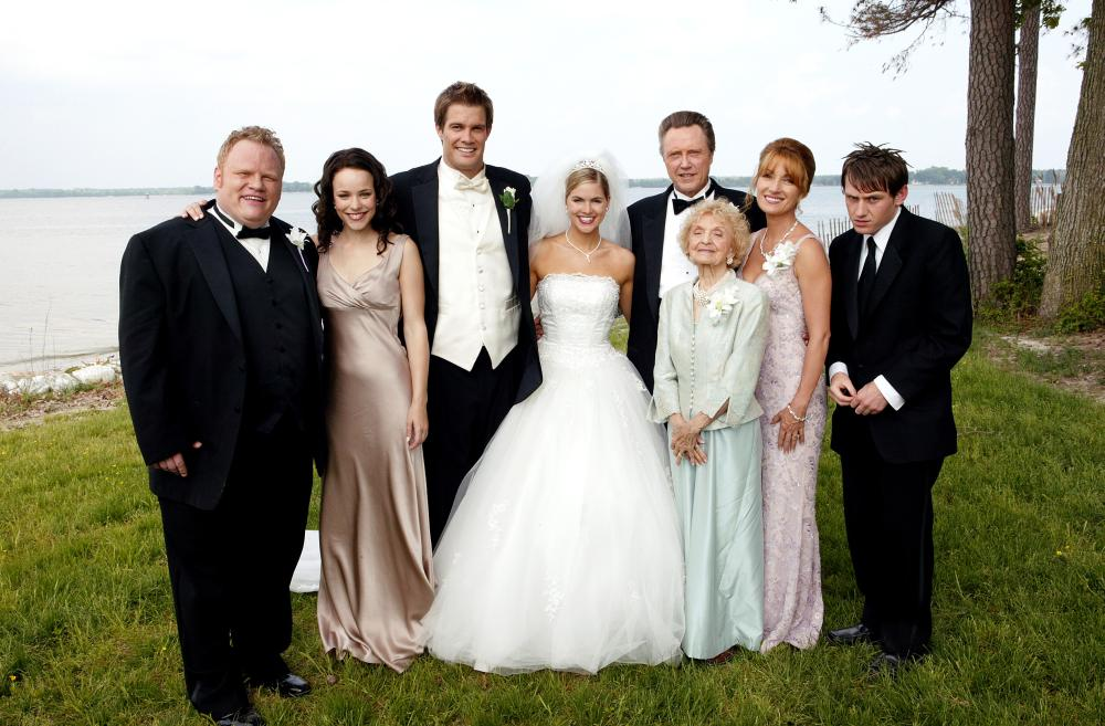 WEDDING CRASHERS, Larry Joe Campbell, Rachel McAdams, Geoff Stults, Jenny Alden, Christopher Walken, Ellen Albertini Dow, Jane Seymour, Keir O'Donnell, 2005, (c) New Line